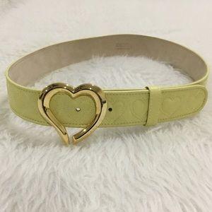Escada gold heart buckle yellow belt size 36